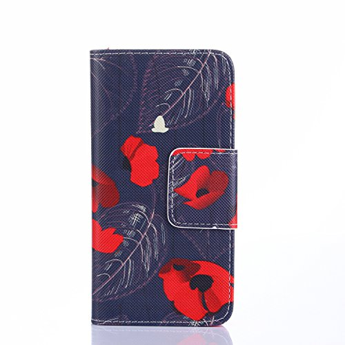 Beiuns Étui en Simili cuir pour Apple iPhone 4 4G 4S Housse Coque - N112 L'hirondelles s'envole (Be free) R143 Rouge Fleur
