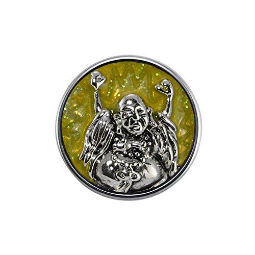 Quiges Damen Click Button 18mm Chunk Jubeln Buddha Dunkelgelbe für Druckknopf Zubehör