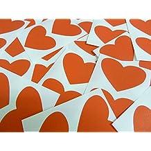 40 etiquetas rectangulares, 50 x 37 mm corazones, rojo, lote de pegatinas de colores de goma para muebles, diseño de corazones de fibra de madera de hojas de papel adhesivas funda auto-adhesiva