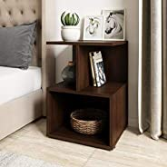 Amazon Brand - Solimo Uno Engineered Wood Bedside Table (Walnut Finish)