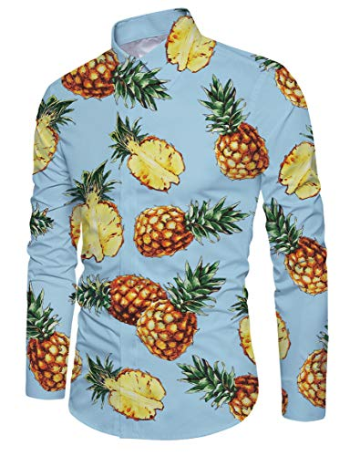 Funnycokid Männer Shirt Druck Lang Button Down Sleeved Classic Ananas Designed Hipster Man Shirt