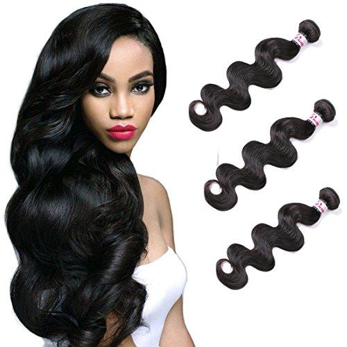 3 Paquets d'Extensions Des Cheveux Ondulés Brésiliens Tissus De Cheveux Naturels Non-Traités En Couleur Naturelle 300g 12 14 16 inch