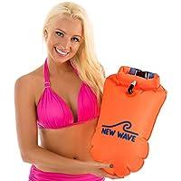 New Wave Swim Boa per Open Water nuotatori e triatleti - Luce e galleggiante visibile per la formazione sicura e Racing (Orange PVC Grande-20L)