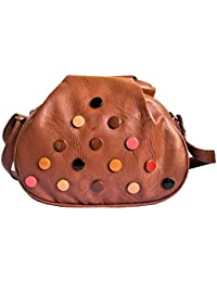 FOBHIYA® International Cross Body Sling Bag For Women & Girls Designed With Multicolor Print Button In Tan Color