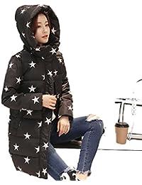 nihiug Piumino Outwear Giù Cappotto Piumino Cappotto Invernale Cappotto  Lungo Sezione Sciolto Ispessimento Calore Stelle Stampa 46f8424c2e2
