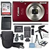 #1: Canon PowerShot ELPH 180 Digital Camera (Red) + 32GB SDHC Memory Card + Flexible tripod + AC/DC Turbo Travel Charger + Replacement battery + Protective camera case with Deluxe Bundle