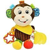 Happy Cherry - Bebé Juguete Colgante Infantil de Animal Felpa Peluche de Cochecito Cuna Carrito con Mordedor Sonido para Arrastrar Niños Niñas - Mono