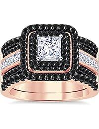 Silvernshine Enhancer Ring Guard & Engagement Ring Set Rose Gold Plated Black Sim Diamonds