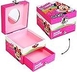 """Schmuckkasten - mit Schubladen + Spiegel - """" Disney - Minnie Mouse """" - incl. Name - Utensilo - Kinderzimmer - z.B. für Schmuck - Schmuckschatulle / Dose - Schmuckbox Schmuckkästchen / Schmuckdose - Juwelen Box / Kiste - Schmuckkoffer - Mädchen - Schatztruhe - Schmuckschatullen / Schatulle - Maus Mäuse - Playhouse - rosa Punkte / Schmuckaufbewahrung - Schubfach"""