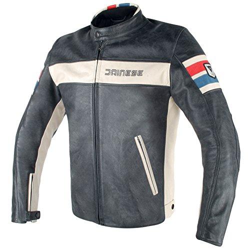 Dainese Lederjacke Hf D1, schwarz/Ice/rot/blau, Größe 52