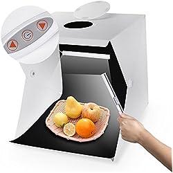 Zecti 40x40cm Tente photo portable Dimmable Studio Boite à Lumière avec 2 feux de ligne à LED réglables et 2 toiles de fond