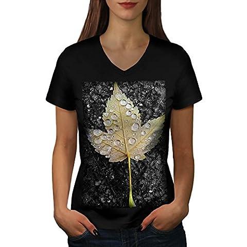 Maple Wet Leaf Heavy Rain Drops Women NEW Black S V-Neck T-shirt | Wellcoda
