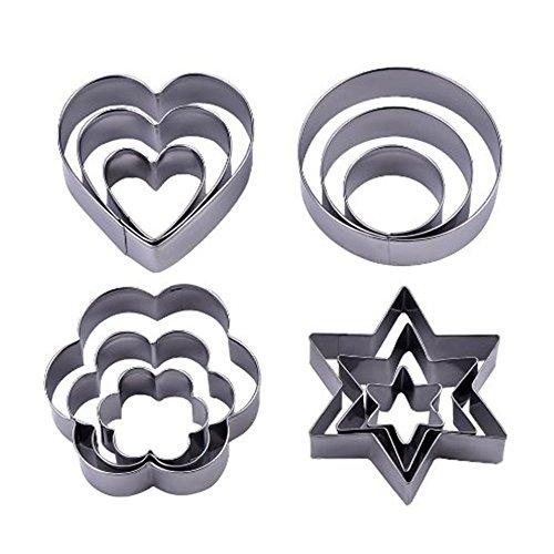 PANNIUZHE - Formine per biscotti di Natale in acciaio INOX, 12 pezzi, a forma di stella, cuore, cerchio e fiore, per creare biscotti, tortine, pasticcini e glasse