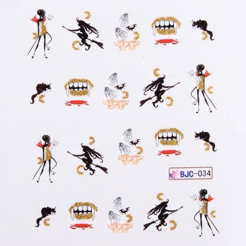 Halloween Nail Art Wasser Decals Transfers Scary Mädchen Hexe Zähne Blut