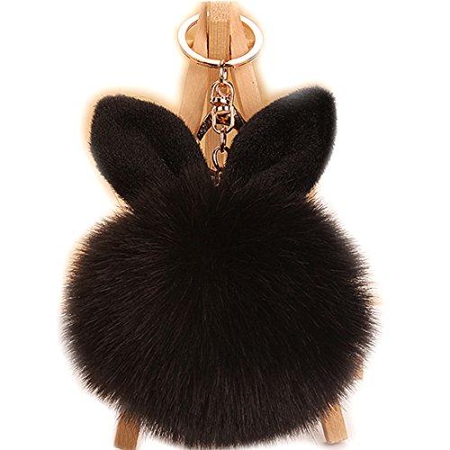 URSFUR Schlüsselanhänger aus Kunstfell Kaninchen Fellbommel Bommel Geburtstagsgeschenk Taschenanhänger (Schwarz)