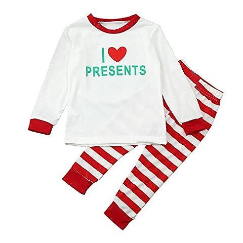 Gaddrt Baby & Frauen & Mann Familie Matching Weihnachtsbrief Pajamas Set Bluse + Santa Striped Hosen Outfits Kleider Set (5T, Rot)