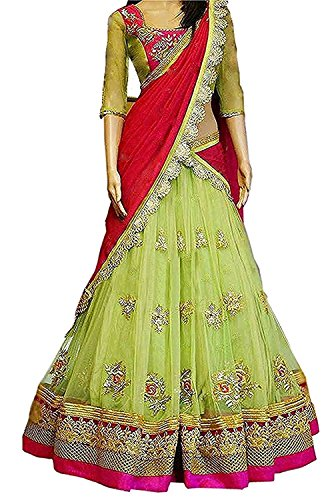 Gloxi Fashion Women\'s Green Georgette Lehenga Choli (GL_Perot_143)