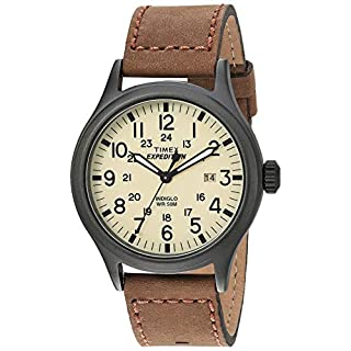 Timex Expedition Men's T49963 Quartz Watch with Beige Dial Analogue Display and Brown Leather Strap