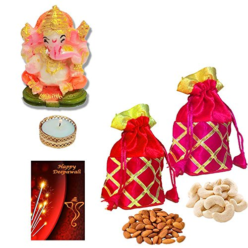 Maalpani Deepawali Dry Fruit Pooja Gift Hamper 2017 - Multicolor Ganesh Idol with fine quality golden Diya n Fancy Batwa Potli with finest Dryfruits n Greeting card | Laxmi Puja - Bhai Dooj Gifts  available at amazon for Rs.525