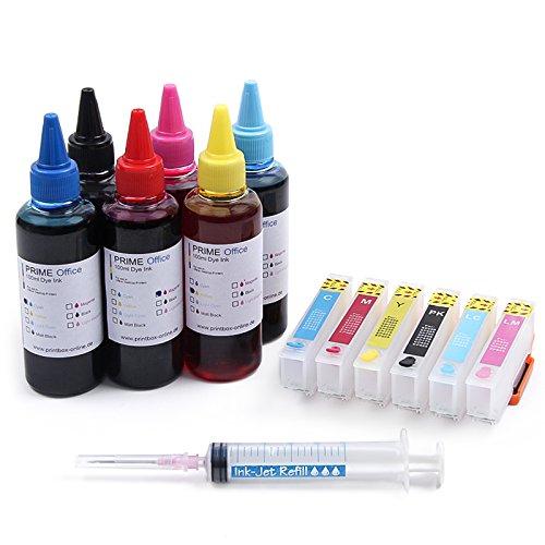 Preisvergleich Produktbild Nachfüllset kompatibel für Epson 24XL Expression Photo XP-55 750 850 inkl. Tinte, Patronen, Spritzen