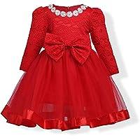 FXFAN Vestidos de Niñas Niñas Vestidos de Manga Larga Niñas Vestidos de Damas Rojas Vestidos de Dama de honorZHANGM (Color : Rojo, Tamaño : 140)