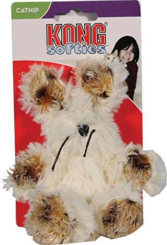 KONG Softies Fuzzy Bunny Crinkle Sound Cuddly Interactive Pet Cat Catnip Toy