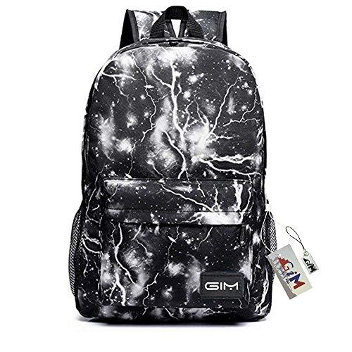GIM Zaino alla moda con stampa galassia, zaino scuola per ragazzi e ragazze adolescenti, Black