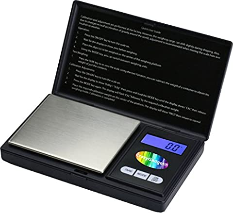 CrazyGadget® Digital Electronic Pocket Mini Weighing Precision Scale 500 x 0.1g (6 Weighing Units:g,oz,gn,ct,ozt,dwt) - Black (for Jewellery Gold
