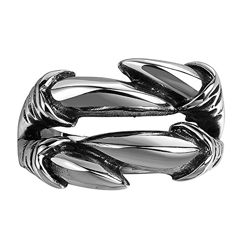 Lekima Stainless Steel Ring Werewolf Dragon Claw Gothic Biker Jewellery Gift For Men (Gift Bag Included) (Gift Bag Included)