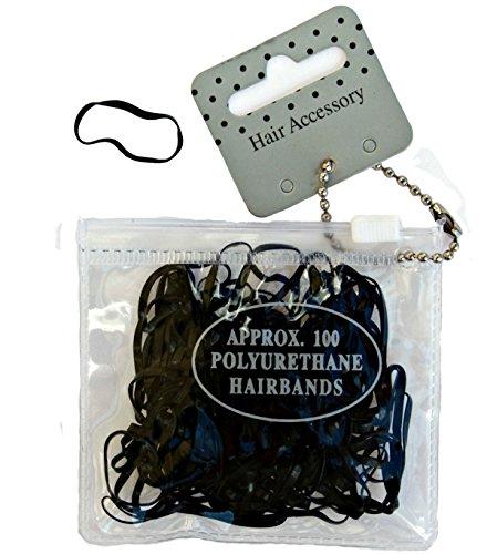 Confezione da 100mini elastici neri in pochette richiudibile, larghezza 2mm