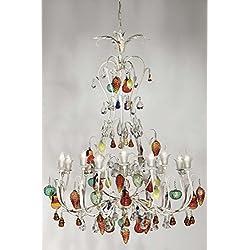 tredici Diseño Murano cristal araña de cristal/Murano cristal murano Frutas en blanco con diseño de pátina verde y ocre