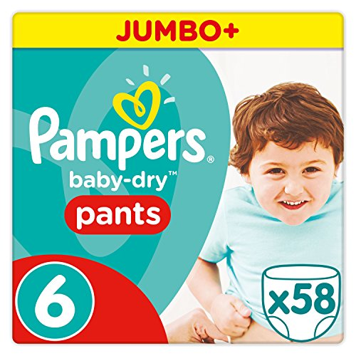 Pampers Baby Dry Pants Windeln, Gr. 6 (ab 15 kg), Jumbo Plus, 1er Pack (1 x 58 Stück)