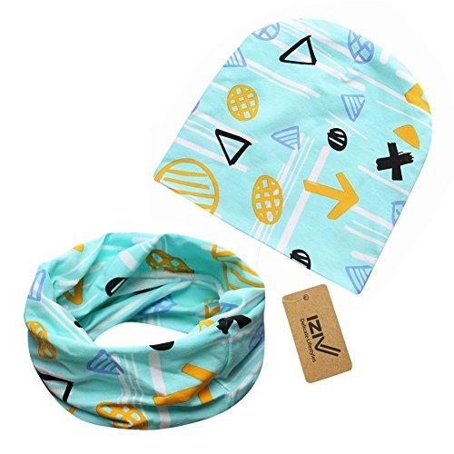 iZiv Babybekleidung Schals Niedliche Baby Kleinkind Kinder Cartoon drucken Hut Kappe Mütze + Schal Warp Set für 0-2 Jahre (Kleinkind Hüte Junge)