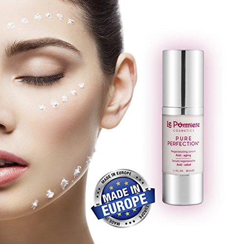 Das beste Gesichtsserum Hyaluronsäure. Vermindert Hautfalten. Serum Anti aging Vitamin C, E, A Retinol, Koenzym Q10, Elastin, Kollagen, Aloe Vera. Creme für Gesicht hinterlässt keine fettige Haut.