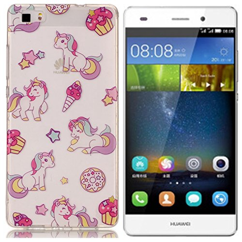 Huawei P8 Lite Hülle, E-Lush TPU Soft Silikon Tasche Transparent Schale Clear Klar Hanytasche für Huawei P8 Lite Durchsichtig Rückschale Ultra Slim Thin Dünne Schutzhülle Weiche Flexibel Handyhülle Kr farbiges Pferd