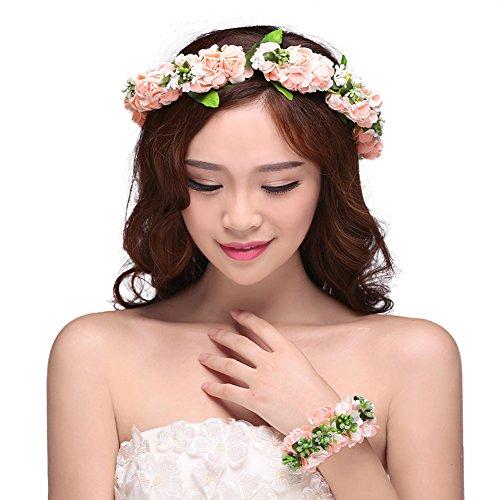 Blumenkranz Haare Blumen Haarschmuck Blumenstirnband und Floral Handgelenk Band für Hochzeits Rosa
