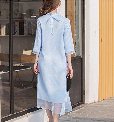 Frauen 2017 Frühlingsmode Damen Rundhals Lose Kleid Bestickten Kleid Blue
