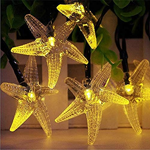 AXXWXX Catena di luci esterne per stelle marine, bianco caldo, 7 metri, luci per esterni impermeabili per catene luminose a LED 50LED con decorazioni da giardino per luci di fate