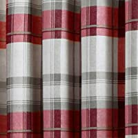 "Fusion - Balmoral Check - Ready Made Lined Eyelet Curtains - 46"" Width x 72"" Drop (117 x 183cm), Ruby by Jrosenthal & Son Limited"