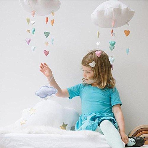 Brightcactus Babybett Mobile Kinderzimmer Decke Mobile Developmental Krippe Spielzeug Baby Mobile Cloud Dekorationen Herz Garland für Kinderzimmer Baby Dusche Weiß