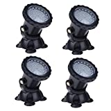 LemonBest Waterproof 36 LED Submersible Underwater Spotlight for Garden Pond Aquarium Courtyard Swimming Pool Fountain Fish Tank, Set of 4, UK Plug