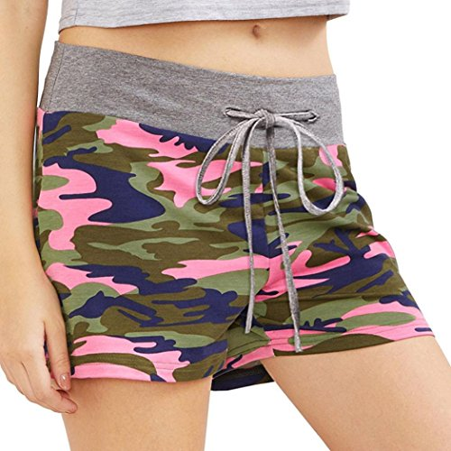 Lady Camouflage Women's Workout Yoga Hot Shorts ❤️❤️Tefamore Newest Summer Drawstring Casual Shorts(Size:S-XL)