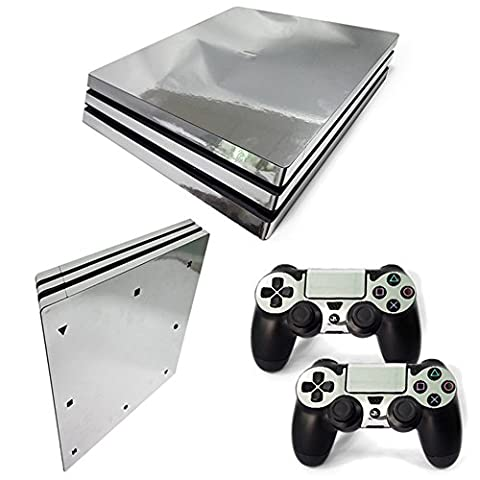 Stillshine PS4 Pro Vinyl Skin Decal Autocollant Sticker pour Playstation 4 Pro console & 2 Dualshock Manette Set (Glossy Silver)