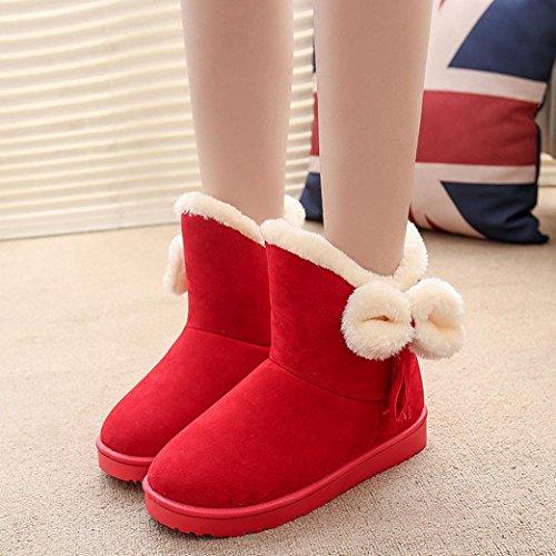 Stiefel Damen Clode® Bowknot Warm Frauen Flats Schuhe Schnee Frauen Stiefel Herbst Winter Schuhe Rot