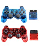 Gollec Wireless Controller for PS2 PlayStation 2 Dual Shock(Pack of 2, ClearBlue and ClearRed)