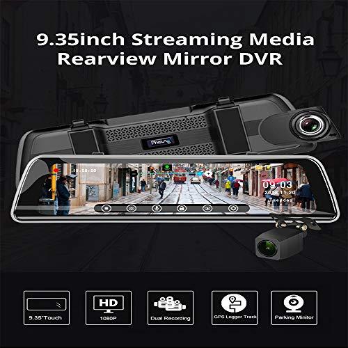 """ZHUOYUE Car DVR Camera Streaming S2 10""""WDR Touch IPS Schermo Dual Camera HD 1080P Specchietto Retrovisore per Auto DVR Visione Notturna G-Sensor GPS Logger Auto Videoregistratore,A"""