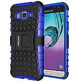 Funda Galaxy J3 (2016),Pegoo Caja El Soporte Incorporado A Prueba de golpes Anti-Arañazos y Polvo Mezcla Doble Capa Armadura Proteccion Cover Case Caso Funda Cáscara Caja para (2016) Samsung Galaxy J3 (Azul)