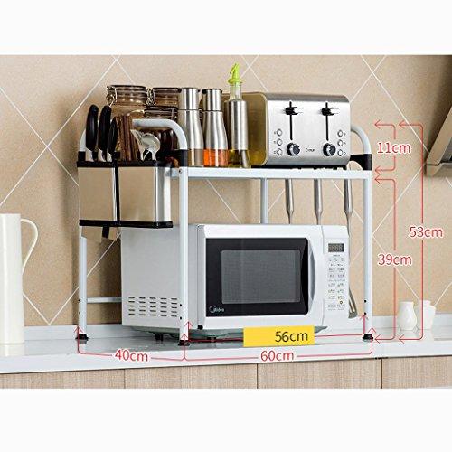 Ali Four à micro-ondes étagère de cuisine étagère de four étagère d'assiette étagère de rangement en acier inoxydable ( Couleur : Blanc , taille : 60 cm )