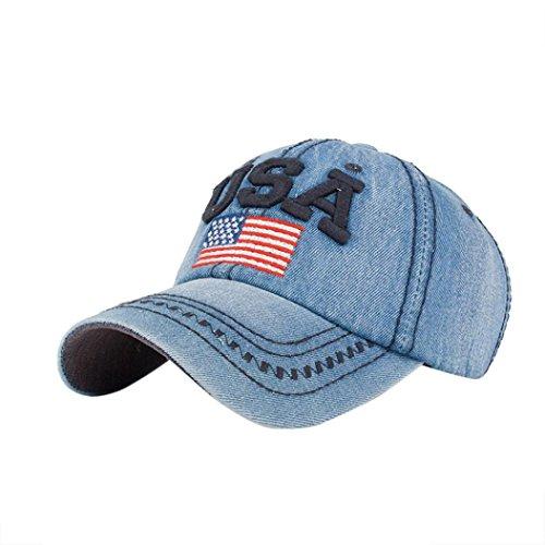 Gorras de Beisbol ❤️Amlaiworld Hombre Mujer Gorra de béisbol USA Rhinestone  Denim Viseras Gorra de 23e5f275d3a