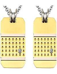 Collar Pareja Epinki 2 Piezas, De Acero Inoxidable Collar Zirconia Cúbica Dog Tag